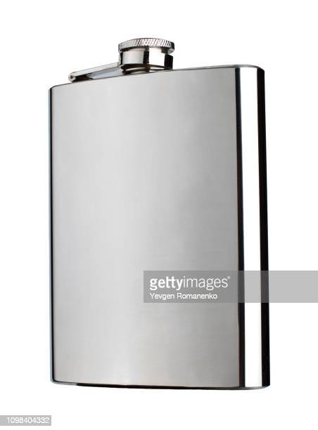chrome flask isolated on white background - flask stock pictures, royalty-free photos & images