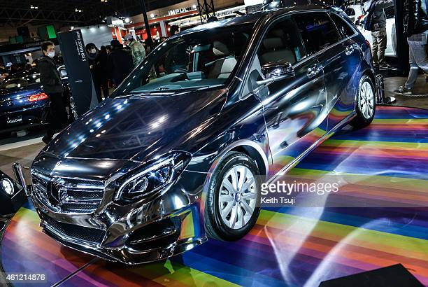 A chrome Mercedes Benz BClass is seen at the Tokyo Auto Salon 2015 at Makuhari Messe on January 9 2015 in Chiba Japan