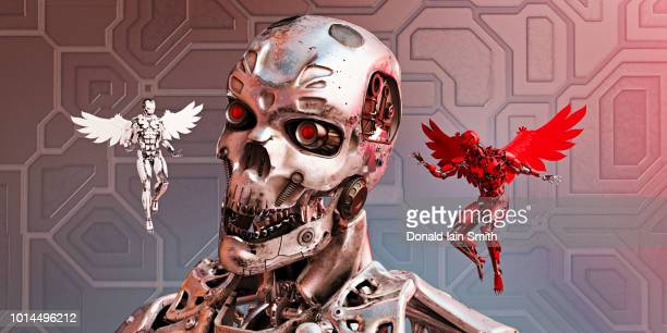 chrome robot with good and bad winged alternatives hovering and whispering in his ear - evil angel photos et images de collection