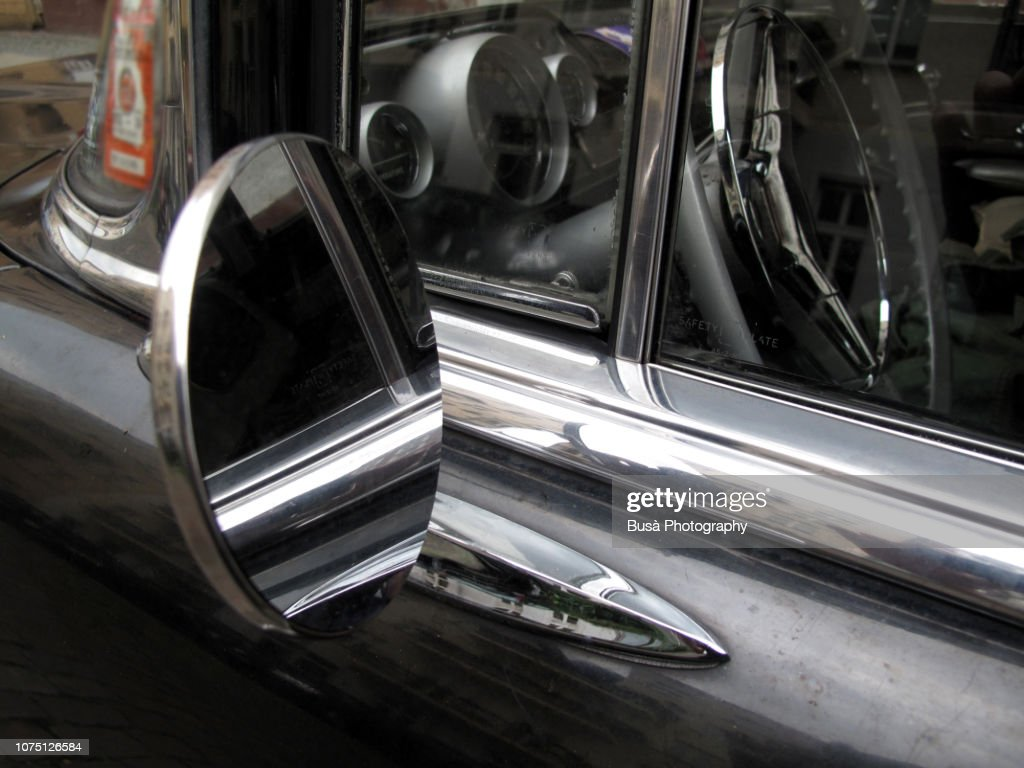 Chrome Side Mirror Of Classic Vintage Car In The Streets Of Berlin Germany  High-Res Stock Photo - Getty Images