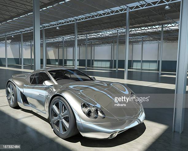 Chrome Sports car in Factory