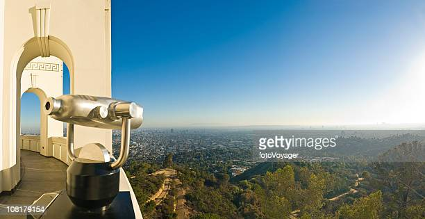 chrome telescope looking out over hollywood hills - boulevard stock pictures, royalty-free photos & images