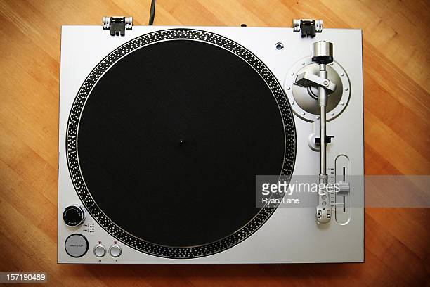 chrome turntable / record player on wood background - deck stock pictures, royalty-free photos & images