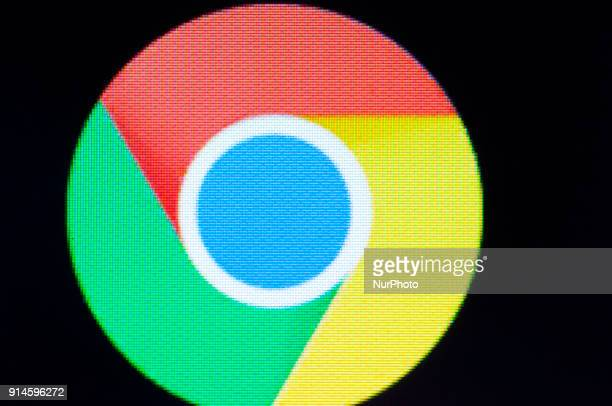 A Chrome web browser logo is seen on an Android portable device on February 5 2018