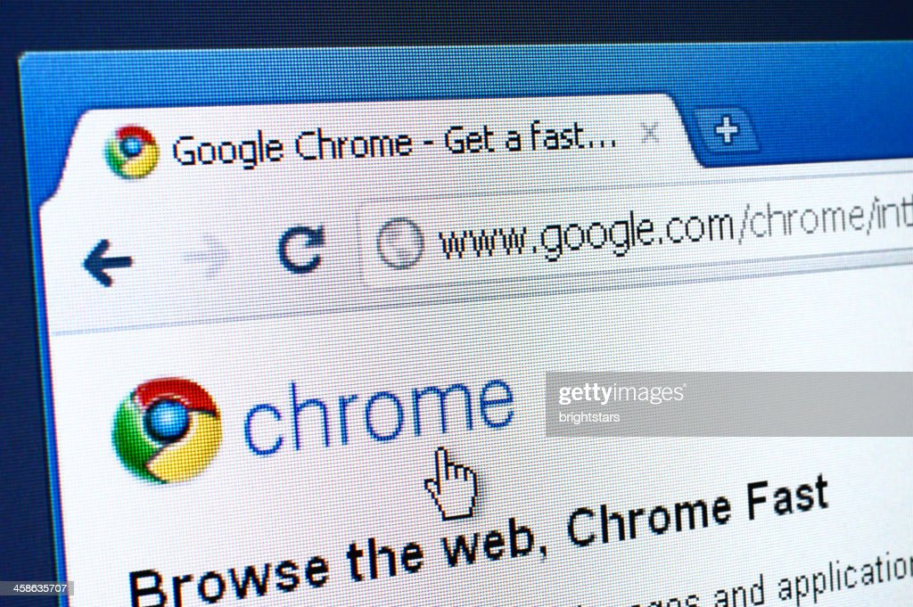 Chrome webpage on the browser : Stock Photo