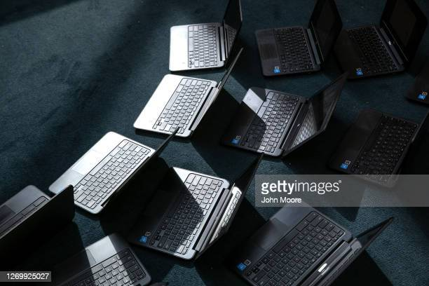 Chromebooks lie out after being cleaned in preparation for the Sept 8 start of school at Newfield Elementary School on August 31 2020 in Stamford...
