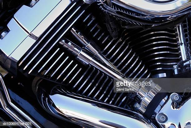 Chromed motorbike engine, close-up