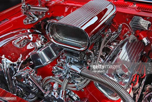 chromed v8 motor - engine stock pictures, royalty-free photos & images