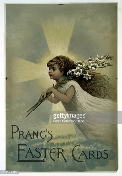 Chromolithograph advertisement with the words 'Prang's Easter Cards' depicting a girl floating holding white lilies a cross of light in the...