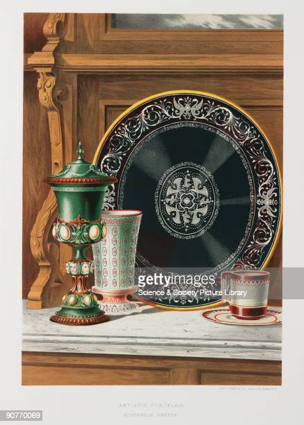 Chromolithograph by Clay Cosack Co of ceramic items made in Stockholm Sweden Colour plate from 'Treasures of art industry and manufacture represented...