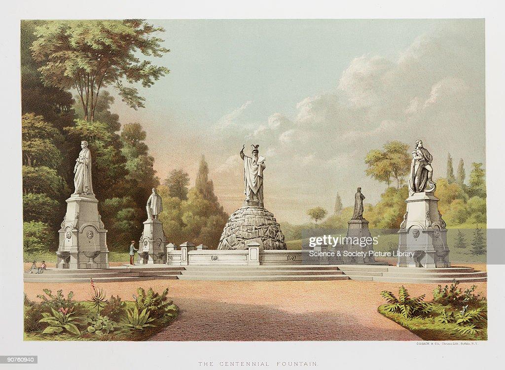 The Centennial Fountain, Fairmount Park, Philadelphia, 1876. : News Photo