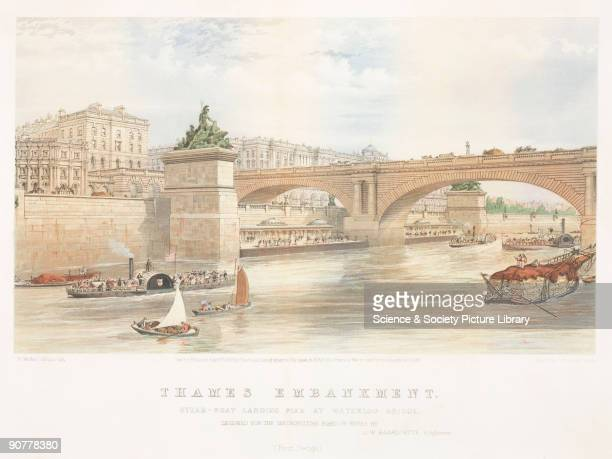 Chromolithograph by E Walker showing part of the Victoria Embankment designed by Joseph Bazalgette chief engineer to the Metropolitan Board of Works...