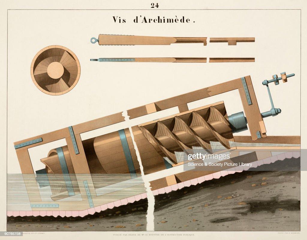 Archimedes� screw, 1856. : News Photo
