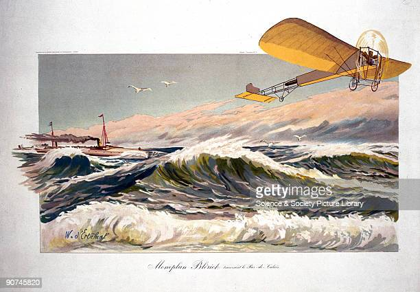 Chromolithograph by W d'Ertahial showing the first Channel crossing by aeroplane made by French aviator Louis Bleriot Bleriot took off from Les...