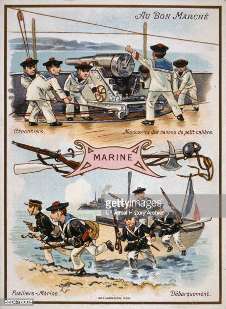 chromolithograph card showing French boy sailors and marines in action and using artillery 1890