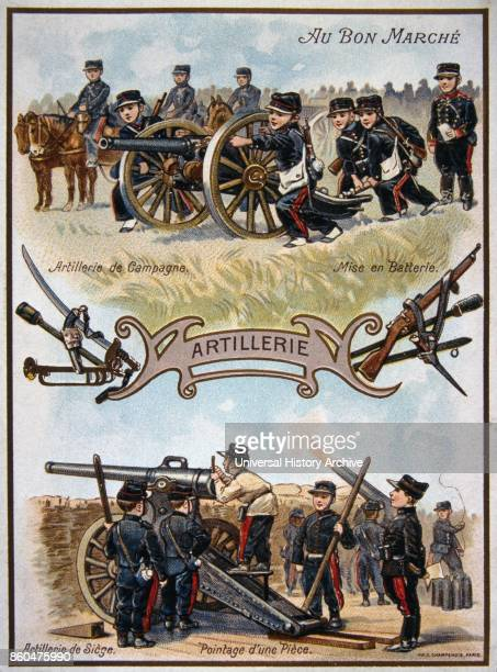 chromolithograph card showing French boy soldiers in action using artillery 1890