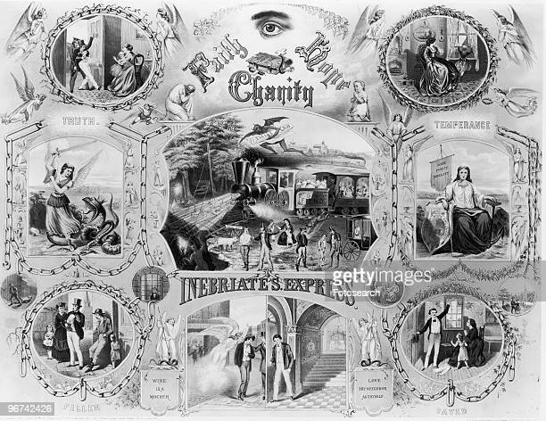Chromolithograph for the temperance movement with the title 'Inebriate's Express' USA circa 1900