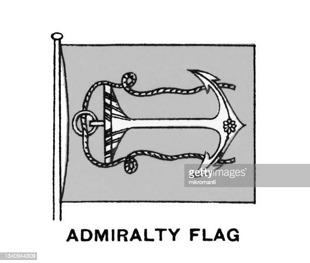 chromolithograph of admiralty flag, united kingdom - chromolithograph stock pictures, royalty-free photos & images