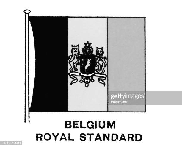 chromolithograph of belgium royal standard flag - chromolithograph stock pictures, royalty-free photos & images