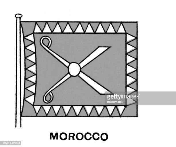 chromolithograph of flag of morocco - chromolithograph stock pictures, royalty-free photos & images