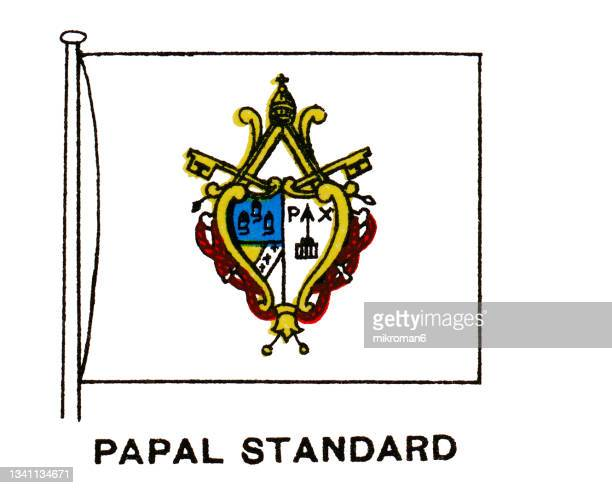 chromolithograph of flag of the vatican city, papal standard flag - pope stock pictures, royalty-free photos & images