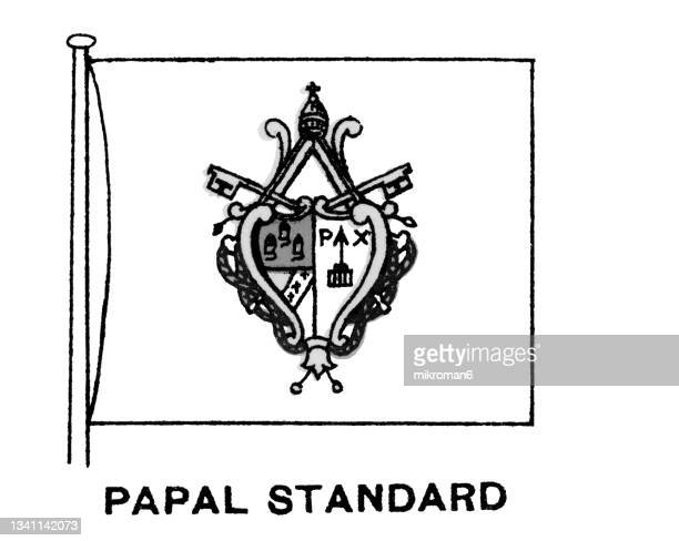 chromolithograph of flag of the vatican city, papal standard flag - chromolithograph stock pictures, royalty-free photos & images