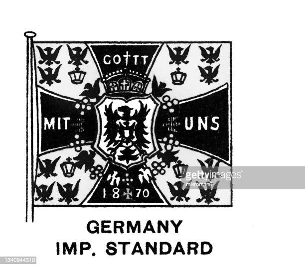 chromolithograph of german imperial flag standard 1871-1918 flag - chromolithograph stock pictures, royalty-free photos & images
