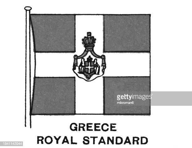 chromolithograph of greece royal standard flag - chromolithograph stock pictures, royalty-free photos & images