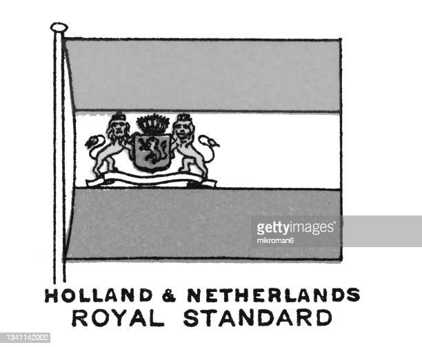 chromolithograph of holland and netherlands royal standard flag - chromolithograph stock pictures, royalty-free photos & images