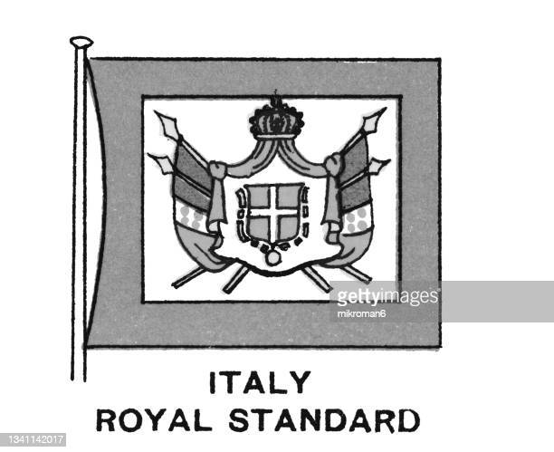 chromolithograph of italy royal standard flag - chromolithograph stock pictures, royalty-free photos & images