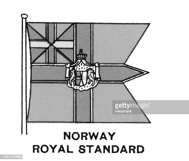 chromolithograph of norway royal standard flag - chromolithograph stock pictures, royalty-free photos & images