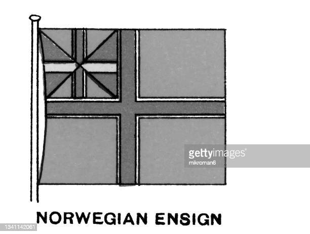 chromolithograph of norwegian ensign flag - chromolithograph stock pictures, royalty-free photos & images