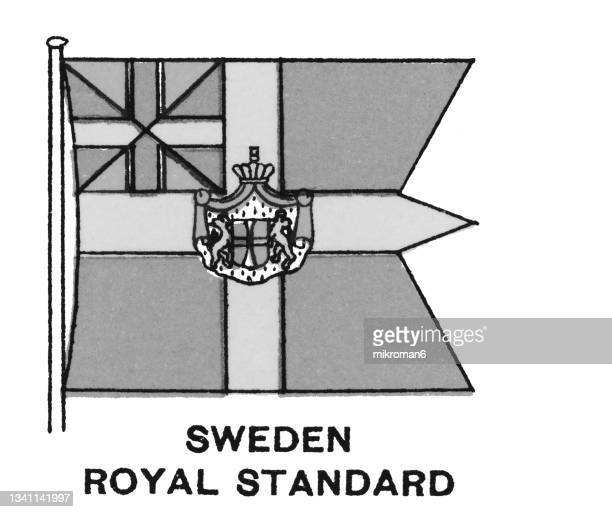chromolithograph of sweden royal standard - chromolithograph stock pictures, royalty-free photos & images