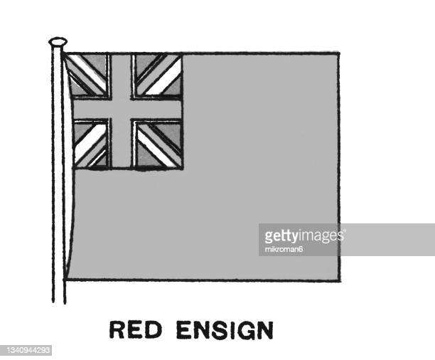 """chromolithograph of the red ensign (""""red duster"""") flag - chromolithograph stock pictures, royalty-free photos & images"""
