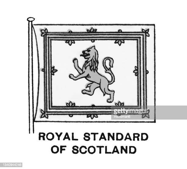 chromolithograph of the royal banner of the royal arms of scotland, royal banner of scotland or lion rampant of scotland - chromolithograph stock pictures, royalty-free photos & images