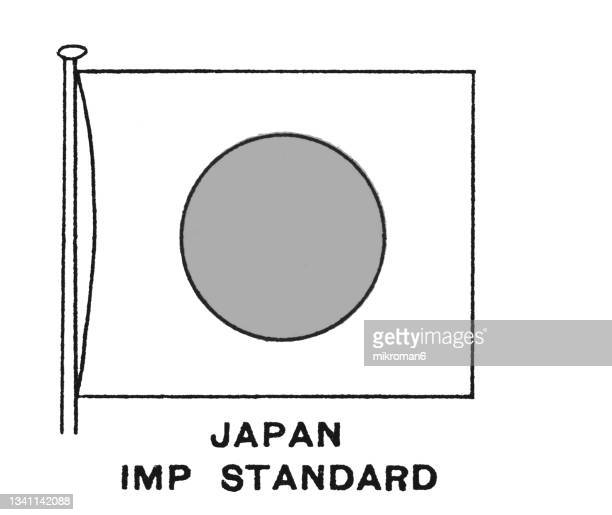 chromolithograph of the standard of the japanese emperor flag - chromolithograph stock pictures, royalty-free photos & images