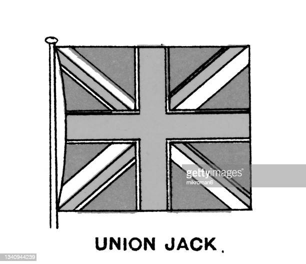 chromolithograph of the union jack, or union flag - national flag of the united kingdom - chromolithograph stock pictures, royalty-free photos & images