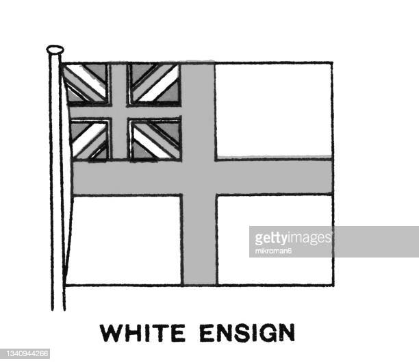 chromolithograph of the white ensign flag (st george's ensign) - chromolithograph stock pictures, royalty-free photos & images