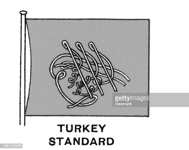 chromolithograph of turkey standard flag - chromolithograph stock pictures, royalty-free photos & images