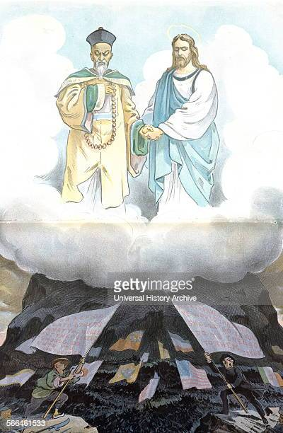 Chromolithograph print titled 'Are our teachings then in vain' created by Udo J Keppler The illustration depicts Jesus Christ and Confucius looking...