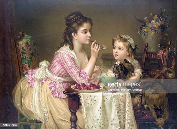 Chromolithograph print titled 'Déjeuner à trois' depicting a young woman sitting at a table filled with breakfast food Dated 1873