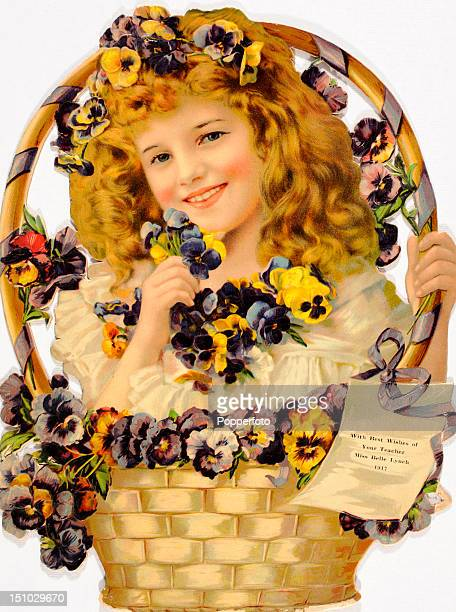 Chromolithograph produced as an Easter greetings card and featuring a young girl with a basket of flowers circa 1917