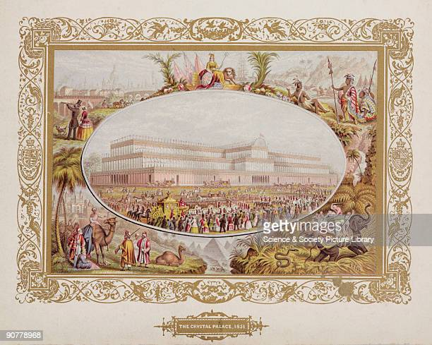Chromolithograph with a gilt trim illustrating the Great Exhibition and the countries it represented The central oval shows the Crystal Palace in...