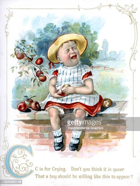 Chromolithographed plate, for the letter C, shows a crying child, seated on a wall in front of a crabapple tree, 1898. It originally appeared in the...