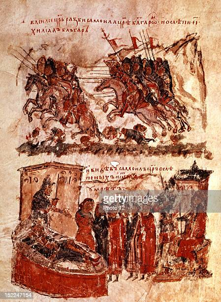 Chronicle of Manasses fol 183 v° Byzantine emperor Basile II defeats Bulgarian Czar Samuel near Balatssitsa and blinds 15 000 Bulgarian soldiers 11th...