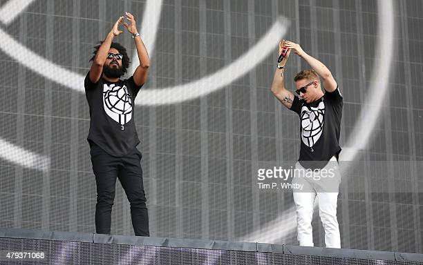 Chrostopher Leacock aka Jullionaire and Thomas Wesley Pentz aka Diplo of Major Lazer performs on day 1 of the New Look Wireless Festival at Finsbury...