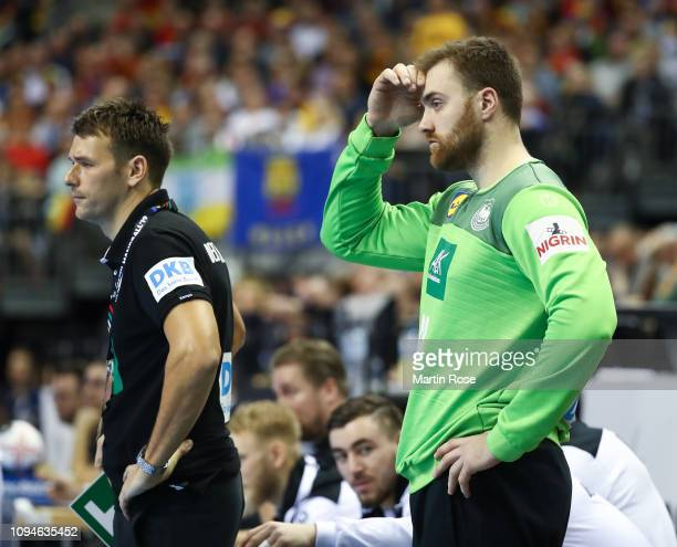 Chrsitian Prokop head coach of Germany and Andreas Wolff look on during the 26th IHF Men's World Championship group A match between Germany and...