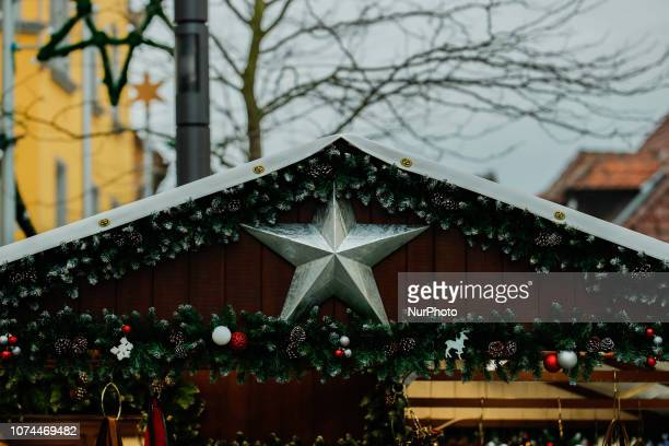 A Chrsitmas star Christmas Market in the Northern Bavarian town of Bayreuth