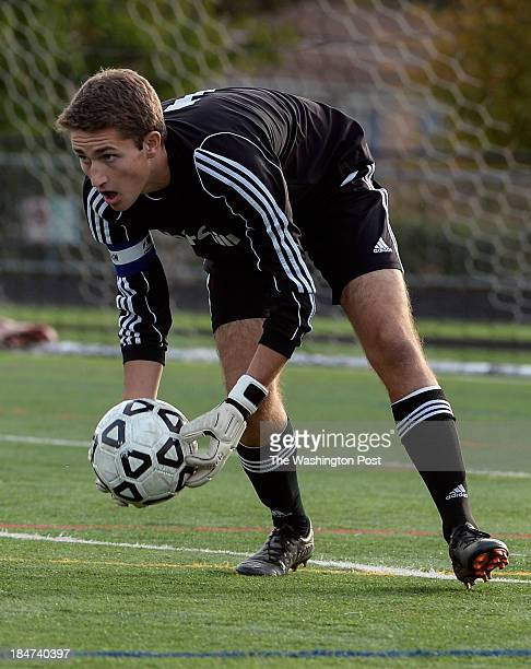 Chruchill goalie Tommy Mengucci makes a save during the game at Walter Johnson High School on Tuesday October 15 2013 Churchill defeated Walter...