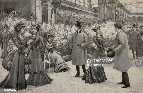 Chrysanthemum exhibition at the Grand Palais Paris France women wearing winter clothes High Life Tailor advertising page engraving by L Kowalsky from...